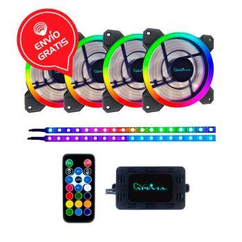 APEVIA SP412L2S-RGB 4*120MM + 2 RGB TIRAS LED Ventiladores Gratis