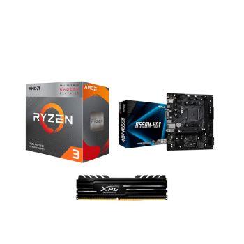 COMBO BOARD ASRock B550M HDV / PROCESADOR AMD RYZEN 3200G / 8GB DDR4 3000MHZ DISIPADA combo