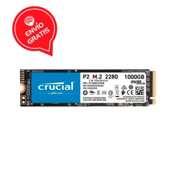 Crucial 1TB P2 Nvme PCIe M.2 CT1000P2SSD8 Disco Solido frontal