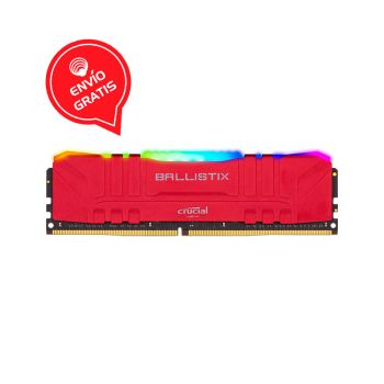 Crucial Ballistix Roja RGB 8GB DDR4 3200Mhz Memoria Ram FRONTAL GRATIS