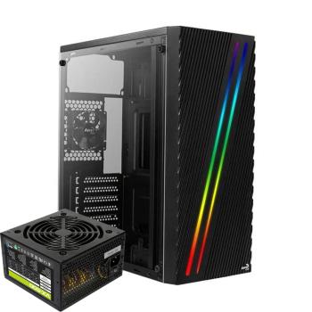 AEROCOOL STREAK RGB 500W 1* 80mm Acrilico Lateral Negra ATX Torre ATX Torre