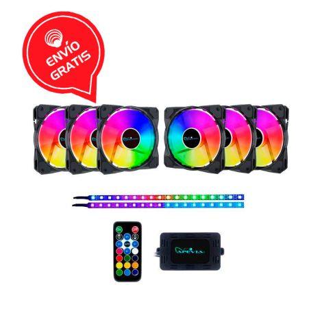 APEVIA FR612L2S-RGB 6*120mm + 2 RGB TIRAS LED MAGNETICAS Ventiladores Gratis