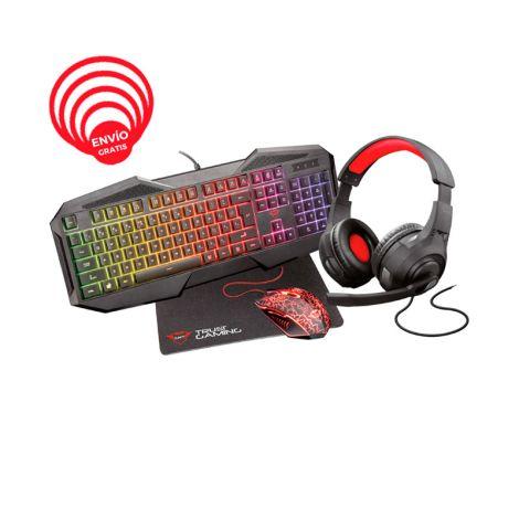Trust GXT 1180RW Gaming Bundle 4 en 1 GXT 830-RW + GXT 105 + audifonos + Pad mouse Combo Teclado y Mouse frontal