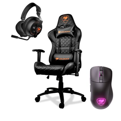COUGAR SILLA GAMER ARMOR ONE BLACK + PHONTUM ESSENTIAL BLACK + MOUSE SURPASSION RX WIRELESS COMBO SILLA