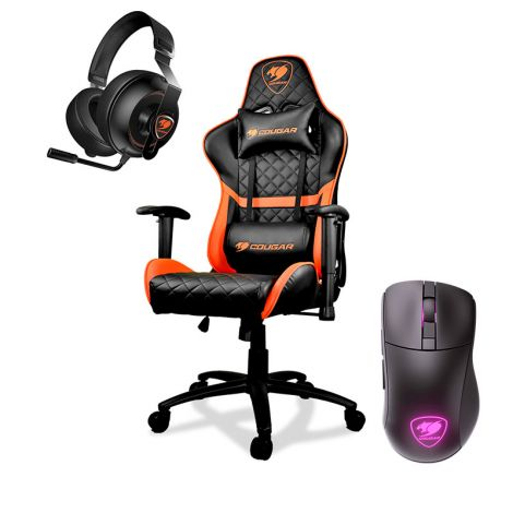 COUGAR SILLA GAMER ARMOR ONE PHONTUM ESSENTIAL BLACK MOUSE SURPASSION RX WIRELESS COMBO SILLA