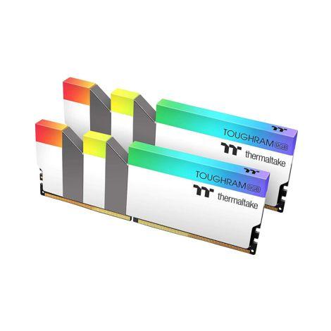 Thermaltake 16GB (2*8GB) DDR4 3600Mhz RGB TOUGHRAM Blanco R022D408GX2-3600C18A  Memoria RAM diagonal