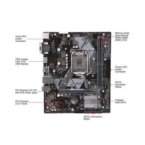 ASUS PRIME H310M-E R2.0 LGA 1151 (300 Series) HDMI SATA 6Gb/s USB 3.1 Intel Matx Board ESPECIFICACIONES