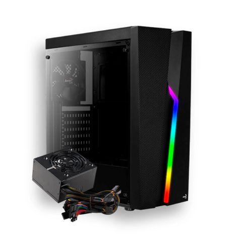 AEROCOOL BOLT RGB 600W 80 PLUS WHITE 1*120mm Vidrio Lateral ATX Torre con fuente DIAGONAL