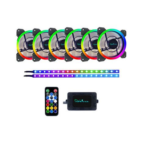 APEVIA SP612L2S-RGB 6*120mm + 2 RGB TIRAS LED MAGNETICAS Ventiladores frontal