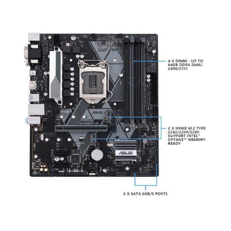 ASUS PRIME B365M-A LGA-1151 DDR4 Soporta 9th/8th Gen HDMI Matx Board frontal
