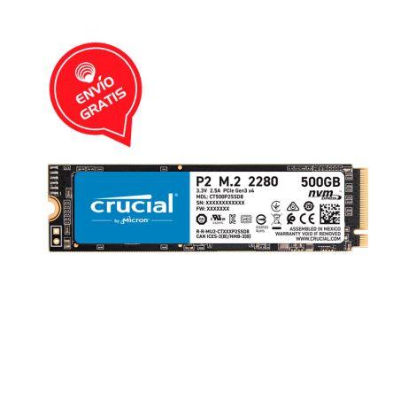 Crucial 500GB P2 Nvme PCIe M.2 CT500P2SSD8 Disco Solido FRONTAL GRATIS