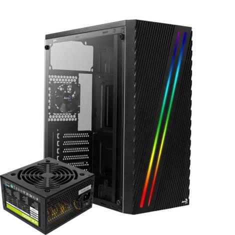AEROCOOL STREAK RGB con Fuente 500W 1* 80mm Acrilico Lateral Negra ATX Torre