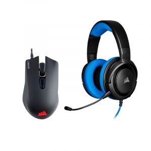 CORSAIR HARPOON RGB PRO Mouse Gaming + HS35 AZUL AUDIFONOS COMBO frontal